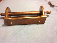 LIGHTLY USED SOLID WOODEN TOILET PAPER HOLDER AND PAPER