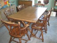 Solid Wood Trestle Table & Chair Set Size: 83? with 2