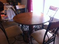 Beautiful antique solid oak and wrought iron dining