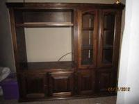 Solid Oak entertainment center, very nice shelf above