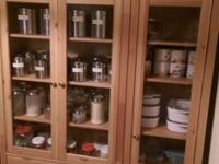 -2 beautiful, solid wooden cabinets with glass