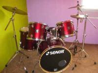 Sonor Drum Set. Comes with 2 Toms, Floor Tom, Bass