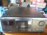 Sony CD player holds 200 CD's at a time. Works great!