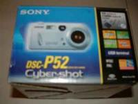 SONY CYBERSHOT DSC P52 WITH ALL ACCS IN THE BOX WITH