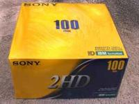 A brand new box sealed in plastic 100 Sony floppy disk.