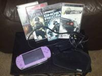 Sony PSP Handheld Console Lavender with Case and GAMES