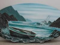 "Original 24"" x 44"" oval 3-D oil painting hand sculpted"