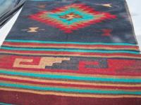 Antique Southwest Rug. Vintage Turquoise Picture,