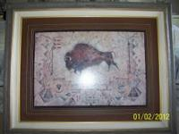 "4'1"" x 3'4"" painting of a navajo indian buffalo hunt."