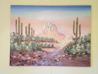 "Southwest oil painting landscape dimensions 48""L x36""w"