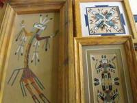 3 southwestern indian sand paintings and 1 tile trivet