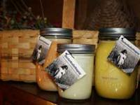 Soy jar candles in over 25 scents from 4oz-48oz. Also