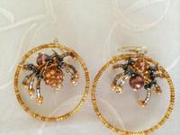 Handmade beaded hoops spider earrings in a variety of