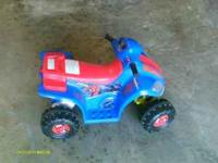 Its a spiderman four wheeler for 18mth-3yr. Charger