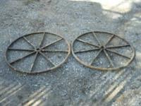 2 Spoke Wheels 33 inches tall, use for yard art or make