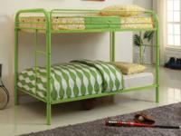 Lot on bunk beds in vivid colours that little ones make