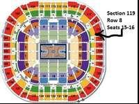 I have $18.25, Row 8, seats 15-16, Section 119 (least
