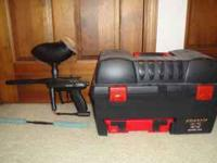 Spyder paintball gun with case/box, one tank, and