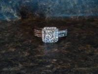 This 10K white gold half karat diamond ring is gorgeous