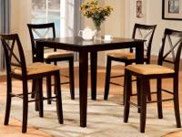 Square Espresso Finish 5pc. Counter Height Dining Set