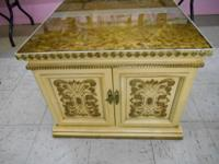 "Square Gold End Table Measurements are: 26"" Long and"