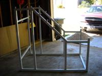 Walkout squat rack, white frame, 42 inches wide, 5 foot