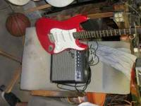 Red Squire Guitar and Fender amp 250 obo or will trade