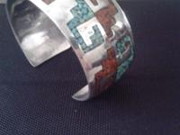 SS Cuff bracelet with turquoise and red coral inlaid,