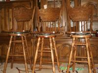 Set of 3 Bar Stools. Solid wood. The only thing wrong