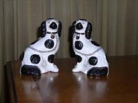 English Staffordshire dogs pair of spaniels. Decorated