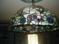 LARGE STAIN GLASS LIGHT 25 INCHES TALL BY 14 INCHES