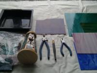 3stained glass tools, look like new,(pliers,glass