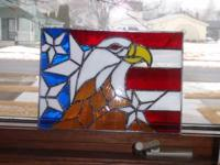 FOR SALE: Stained glass eagle w/american flag
