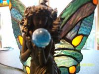 A Beautiful Brass Fairy, Holding A Blue Crystal.With