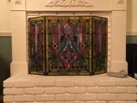 Gorgeous, vibrant stained glass fireplace screen with