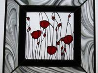 Up for sale is a Stained Glass Poppies Window. The