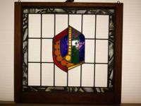 Up for sale is a Leaded Stained Glass Painted Leaf