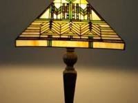 Up for sale is a Prairie Style Stained Glass Lampshade