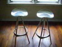 Two Stainless Steel Swivel Bar Stools. Almost never