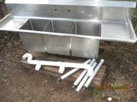 Stainless Steel Commercial Grade Triple Sink. Overall