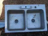 "Large and deep stainless steel double sink 33"" long x"