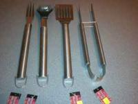 Brand new, 4 piece stainless steel grilling set! Heavy