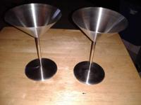 Stainless Steel Martini Glasses Set   In good condition
