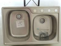 "Double 9.5"" stainless steel kitchen sink $50.00 Call"