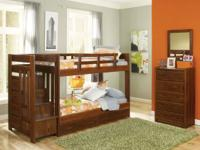 This strong wood twin over twin staircase bunk bed is