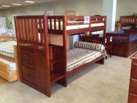 Solid wood staircase bunk beds currently on sale!!