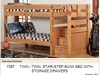 NEW -- Solid Pine Stairstep bunk bed w/ drawers in