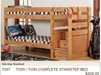 Solid Pine Stairstep bunk bed w/ drawers in steps.