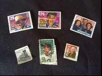 6 stamps Lou Gehrig, Bob Wills, The Carter Family,