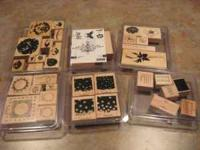 Great stamp lot! 6 wooden mounted Stampin Up Sets Each